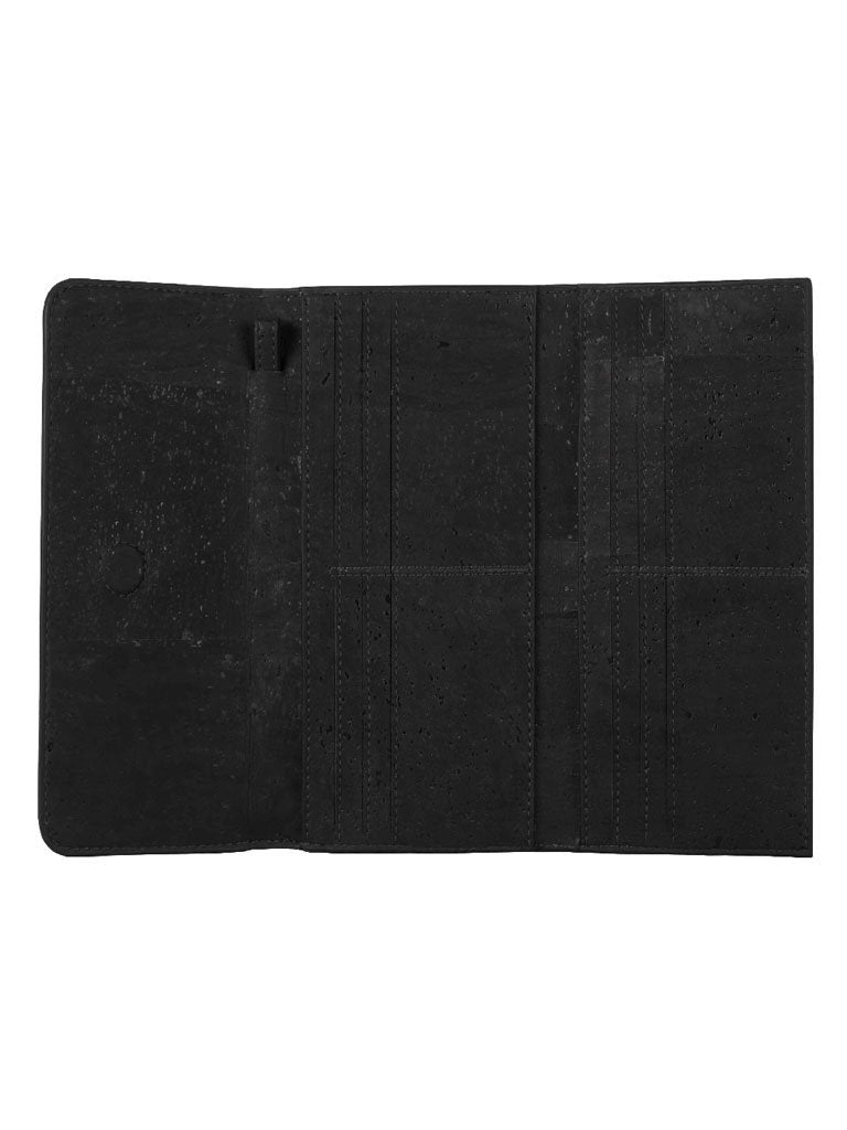 Ela Trifold Black Wallet open