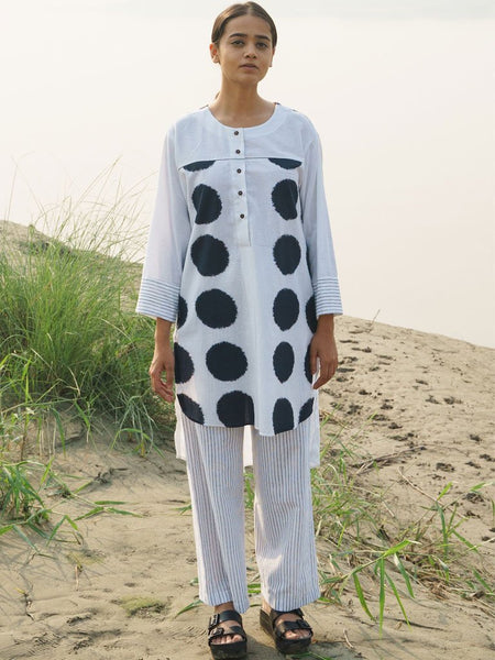 Asymmetrical Dotted Kurta Set