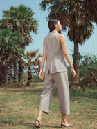 Sustainable handloom cotton blazer and pant set image 3
