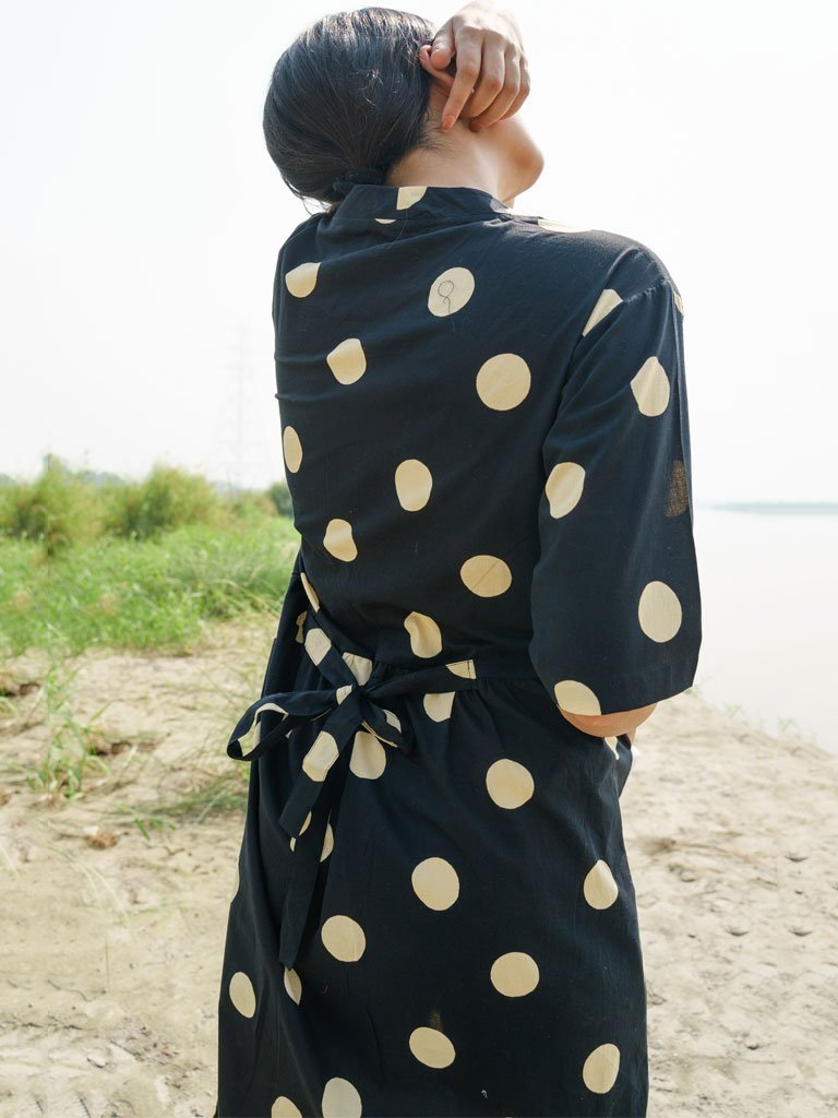 Black And Beige Polka Dress