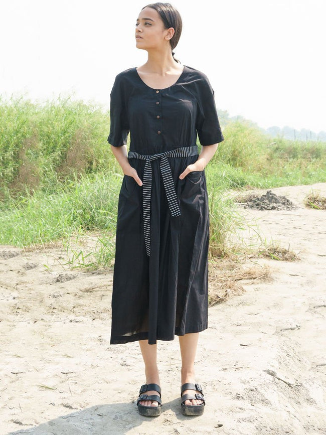 Black Cotton Dress With Stripes Belt - DRESSES - IKKIVI - Shop Sustainable & Ethical Fashion