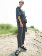 Black Stripe Wrap Top - TOPS - IKKIVI - Shop Sustainable & Ethical Fashion