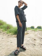Black Stripe Pants - SKIRTS & TROUSERS - IKKIVI - Shop Sustainable & Ethical Fashion