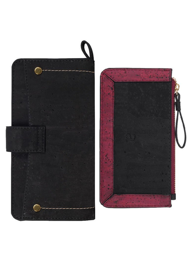 Kim Clutch Black Maroon Wallet - BAGS - IKKIVI - Shop Sustainable & Ethical Fashion