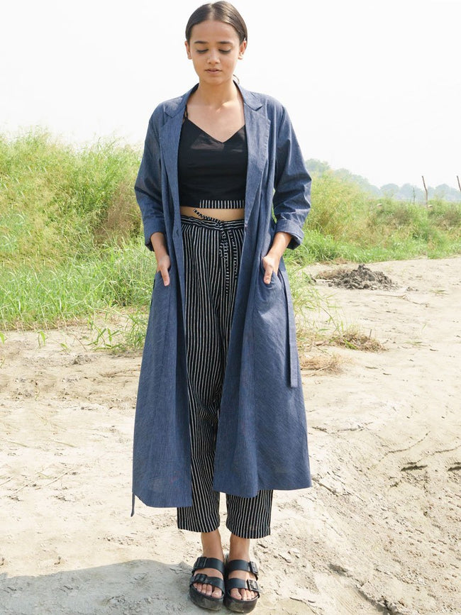 Blue Pinstripes Jacket - JACKETS - IKKIVI - Shop Sustainable & Ethical Fashion