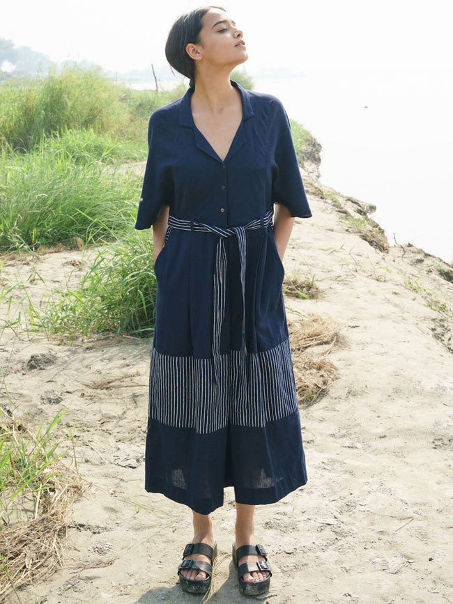 Blue Stripe Jumpsuit - SKIRTS & TROUSERS - IKKIVI - Shop Sustainable & Ethical Fashion