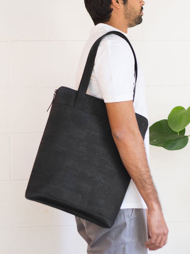 Aspen Black Tote Bag - BAGS - IKKIVI - Shop Sustainable & Ethical Fashion