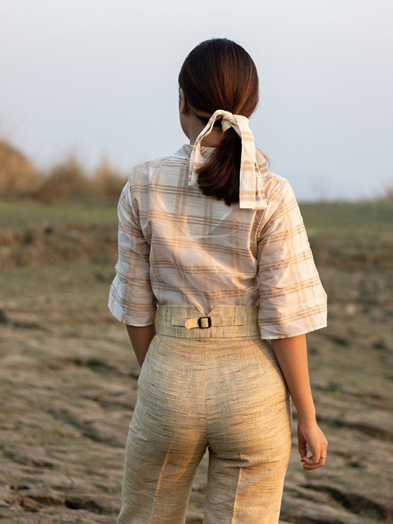 Check Notch Collar Shirt - TOPS - IKKIVI - Shop Sustainable & Ethical Fashion