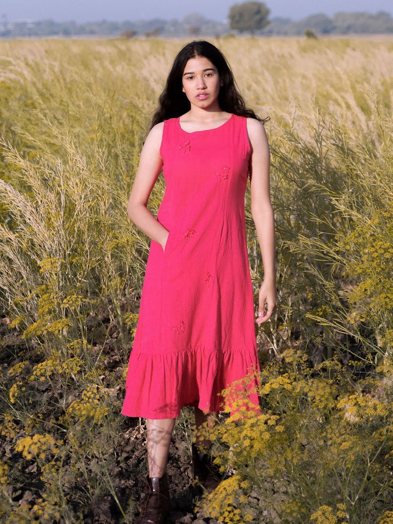 Crimson 3-D Flower Dress - DRESSES - IKKIVI - Shop Sustainable & Ethical Fashion