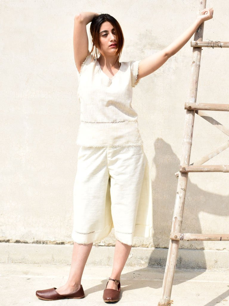 Handwoven culottes cut from handspun and handwoven cotton with side pockets - TROUSERS - IKKIVI - Shop Sustainable & Ethical Fashion
