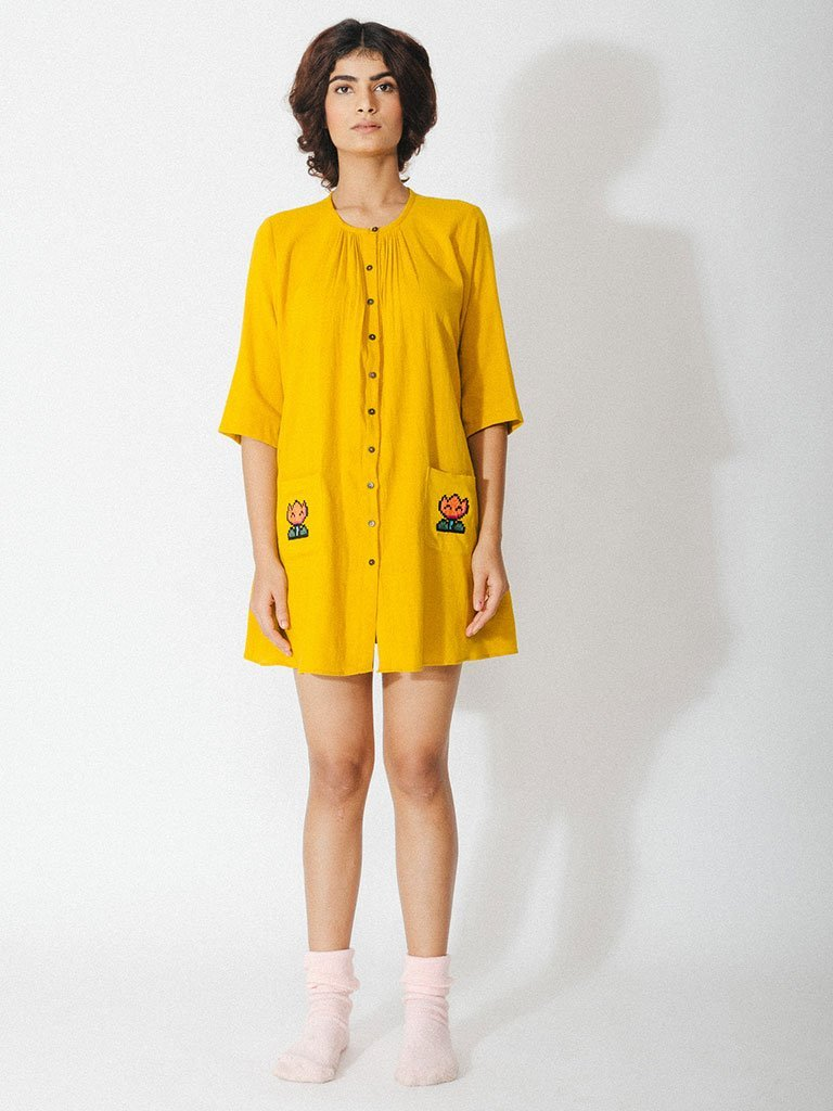 yellow handwoven naturally dyed cotton tunic with hand embroidery image 2