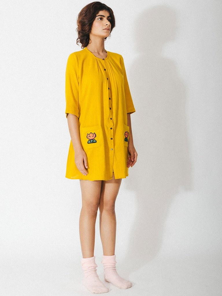 yellow handwoven naturally dyed cotton tunic with hand embroidery image