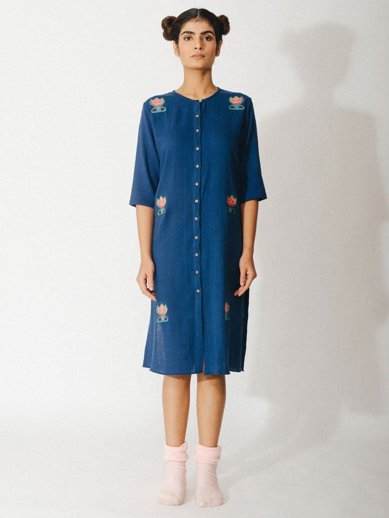navy blue sustainable naturally dyed embroidery cotton dress image