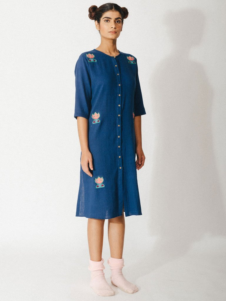 navy blue sustainable naturally dyed embroidery cotton dress image 2