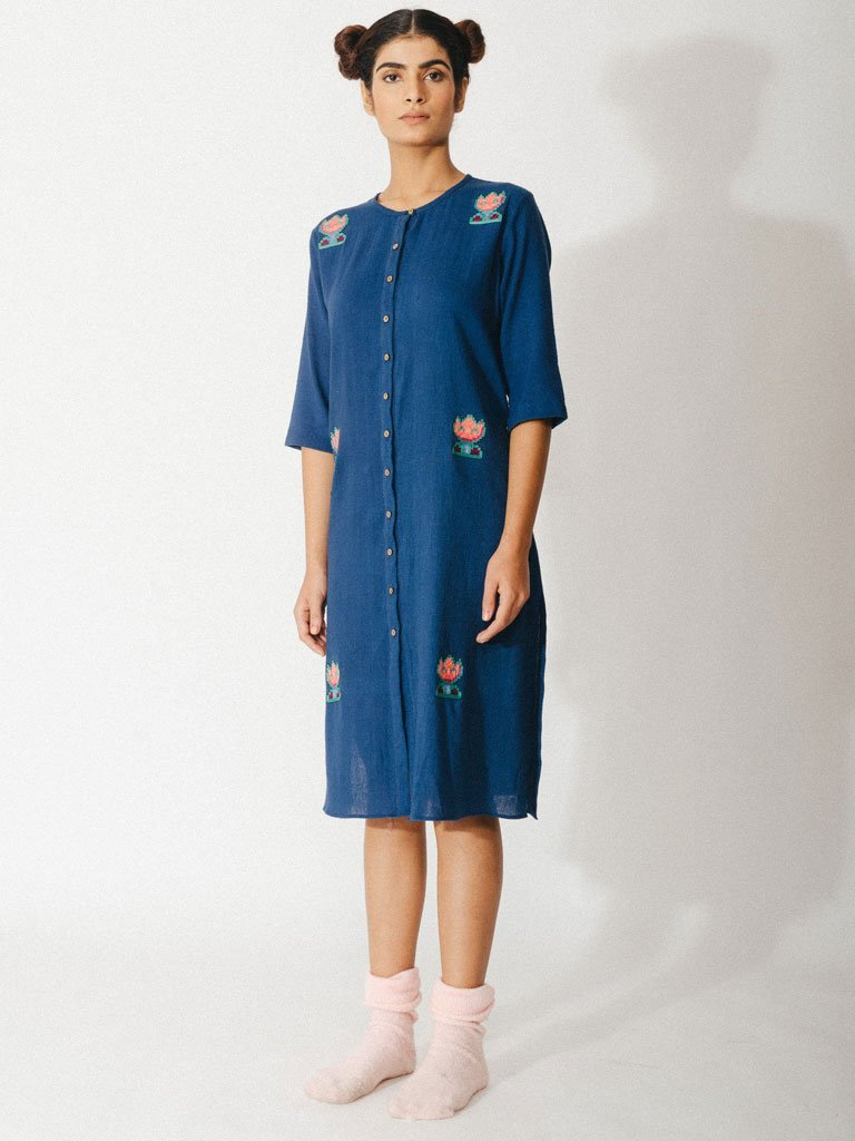 navy blue sustainable naturally dyed embroidery cotton dress image3