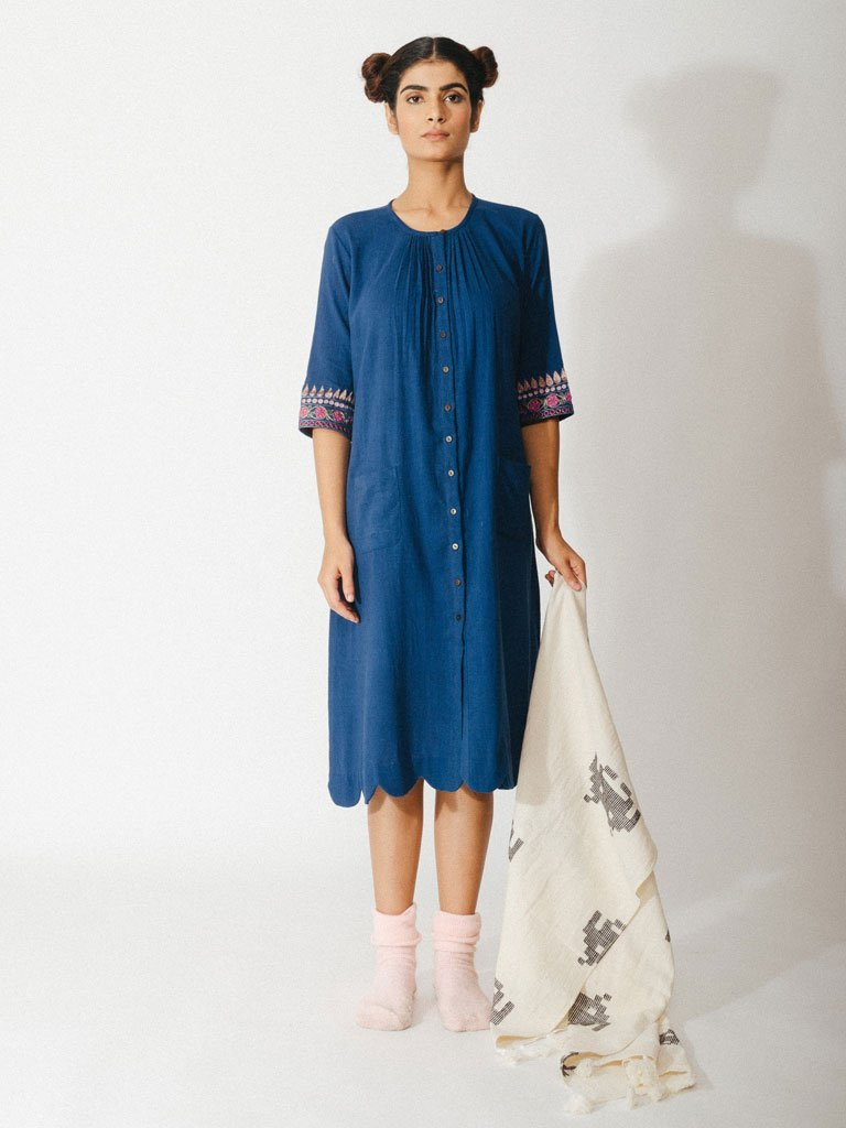navy blue sustainable naturally dyed cotton dress with zardosi details image