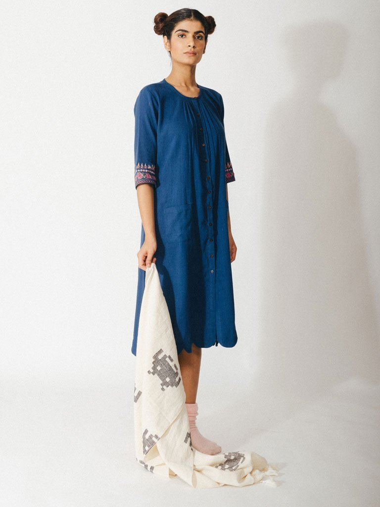 navy blue sustainable naturally dyed cotton dress with zardosi details image 2
