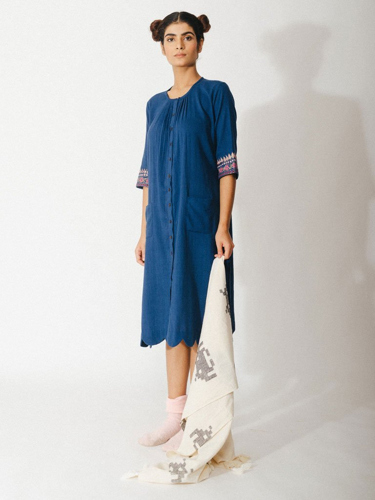 navy blue sustainable naturally dyed cotton dress with zardosi details image3