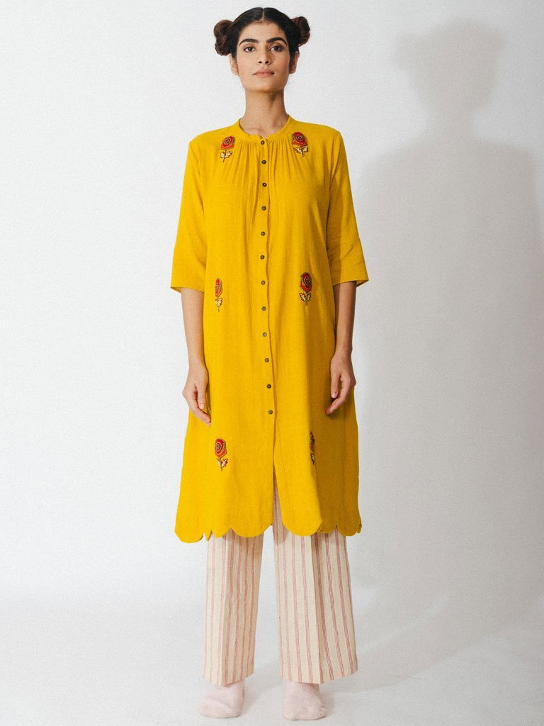 yellow sustainable naturally dyed cotton robe with hand embroidery image