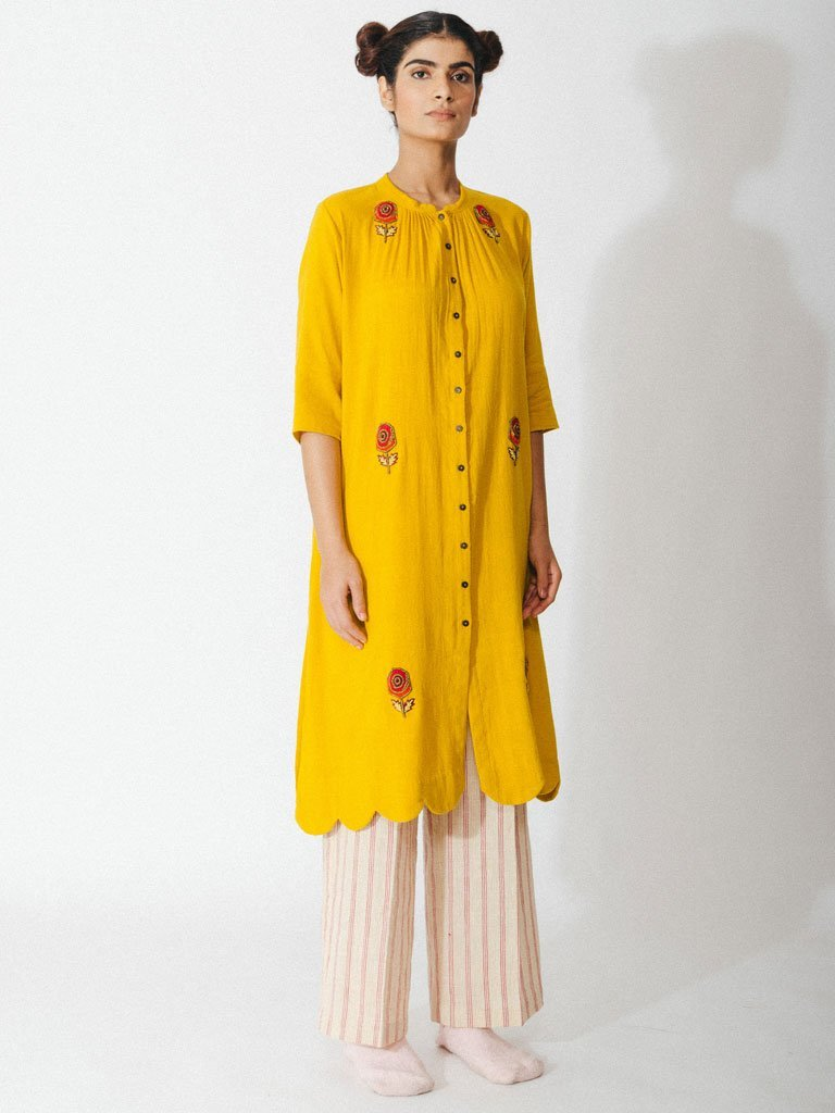 yellow sustainable naturally dyed cotton robe with hand embroidery image 2
