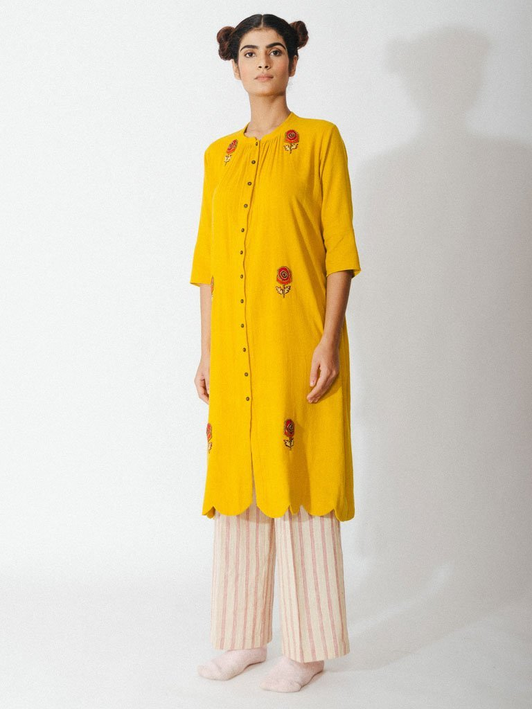 yellow sustainable naturally dyed cotton robe with hand embroidery image3