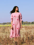 Dusty Pink Floral Dress - DRESSES - IKKIVI - Shop Sustainable & Ethical Fashion