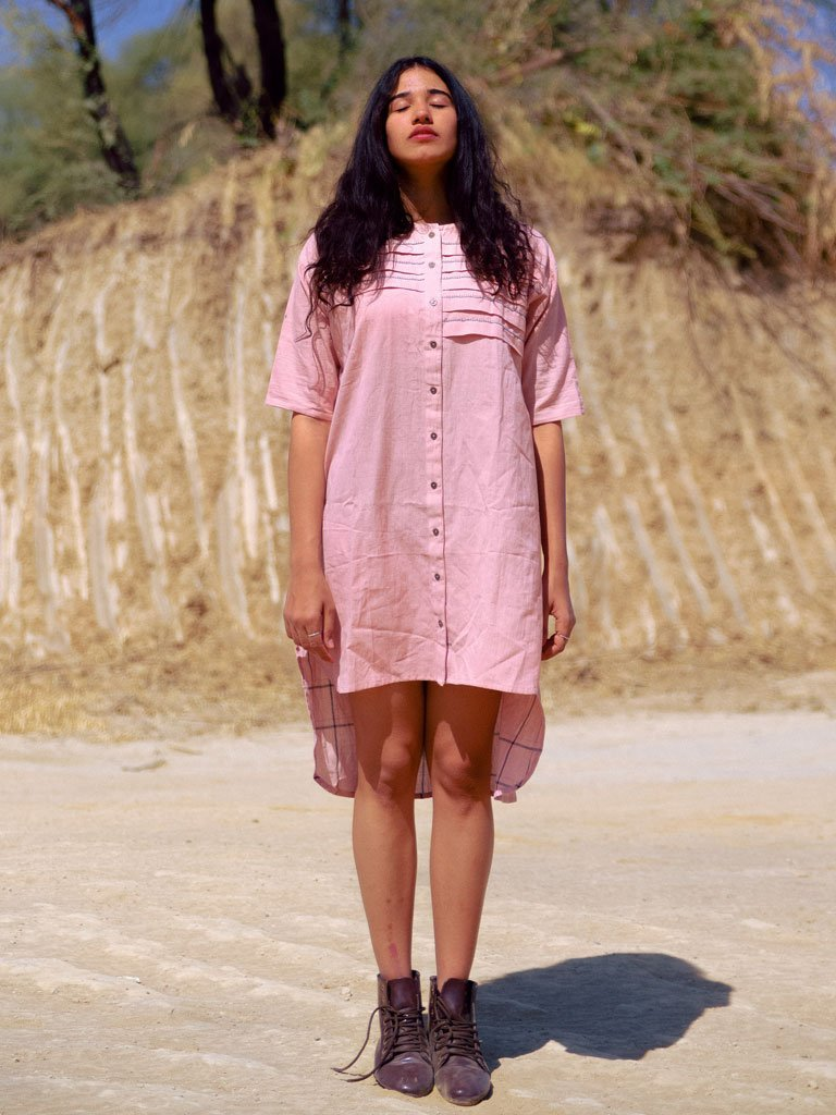 Dusty Pink Pleated Tunic