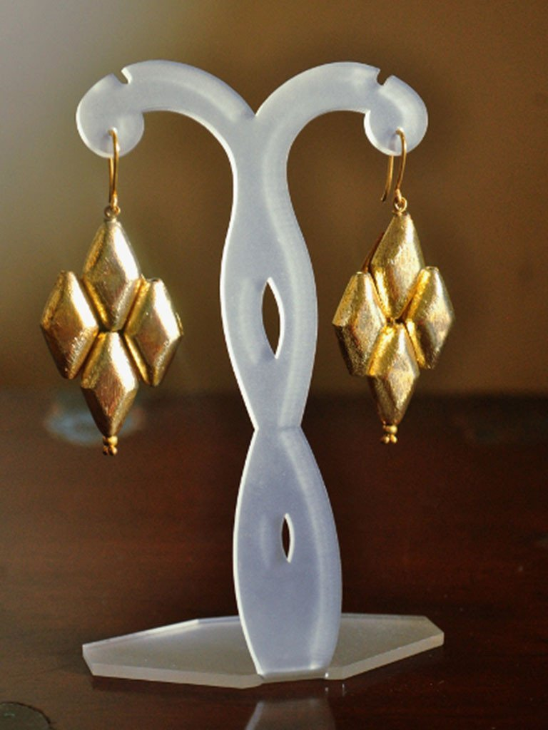 Gold Plated Rhombus Earrings - Jewellery - IKKIVI - Shop Sustainable & Ethical Fashion