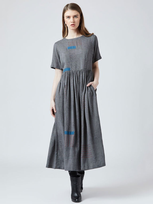 Emb Gather Dress