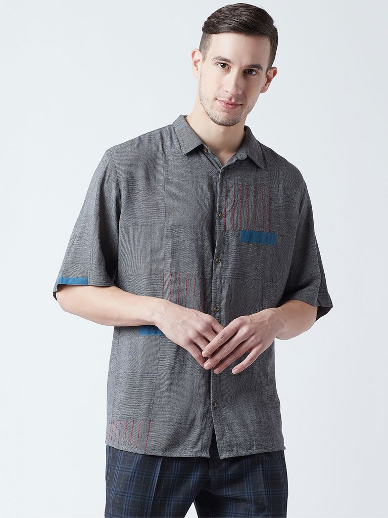 Emb Checkered Shirt - SHIRTS - IKKIVI - Shop Sustainable & Ethical Fashion