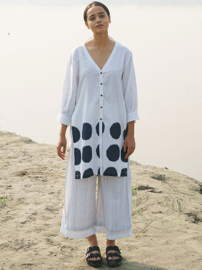 Front Open Kurta With Side Loops Set - DRESSES - IKKIVI - Shop Sustainable & Ethical Fashion