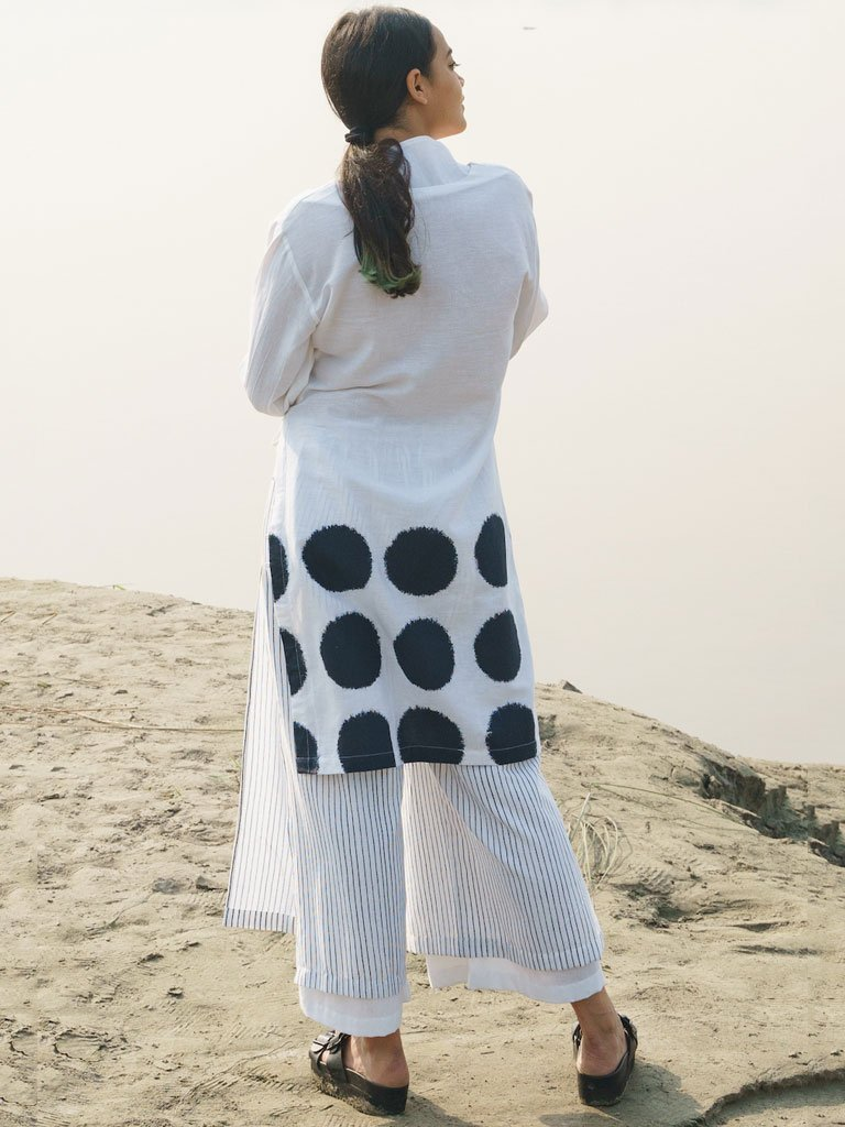 Front Open Kurta With Side Loops Set