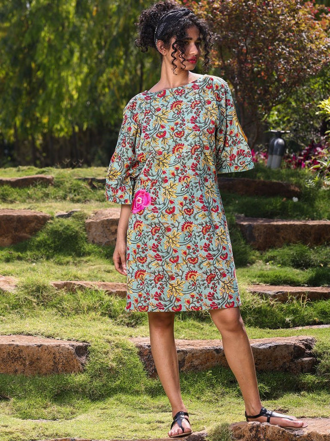 Green floral print dress with slit sleeve detail - DRESSES - IKKIVI - Shop Sustainable & Ethical Fashion