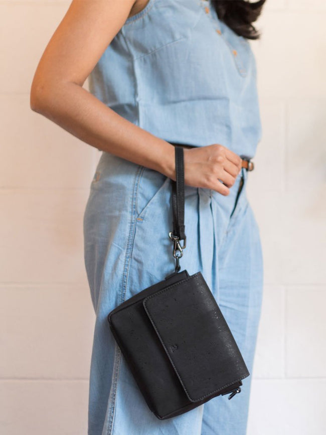 Yarra Multi-Use Black Sling - BAGS - IKKIVI - Shop Sustainable & Ethical Fashion