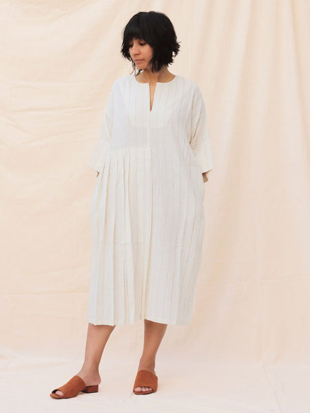 white sustainable organic khadi cotton dress image