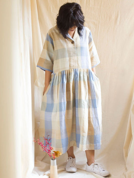 cream sustainable khadi and matka silk dress image