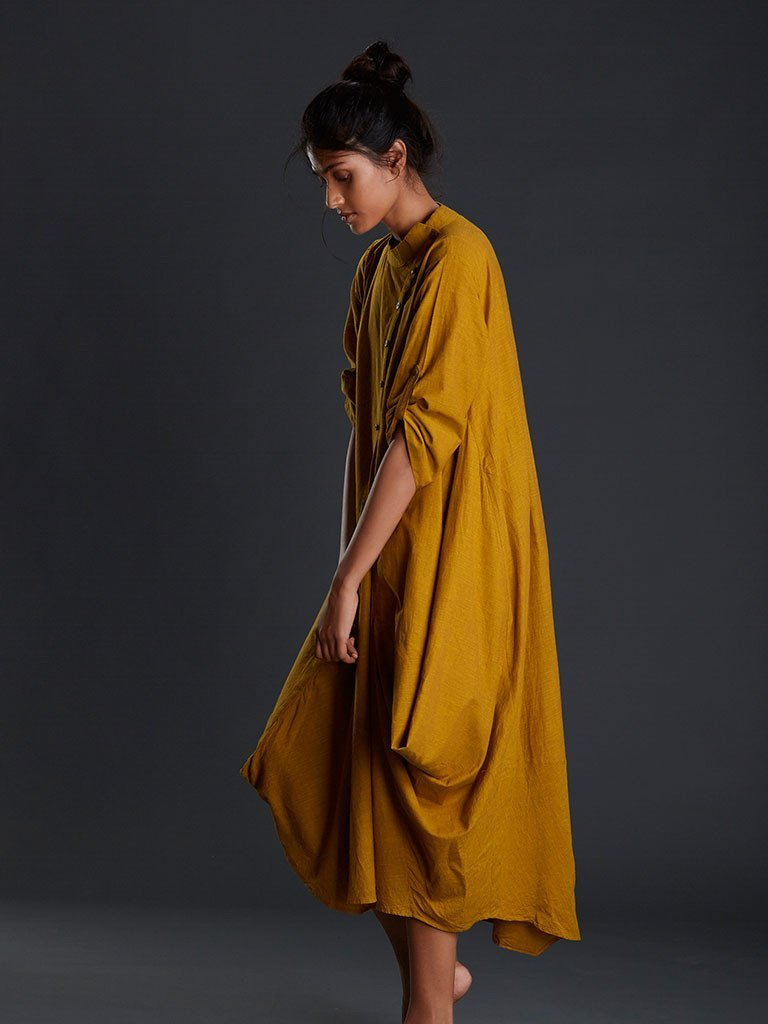 Mustard Buttoned Ooch Neech Aakaar - DRESSES - IKKIVI - Shop Sustainable & Ethical Fashion