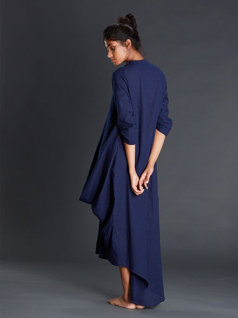 Navy Blue Buttoned Ooch Neech Aakaar - DRESSES - IKKIVI - Shop Sustainable & Ethical Fashion