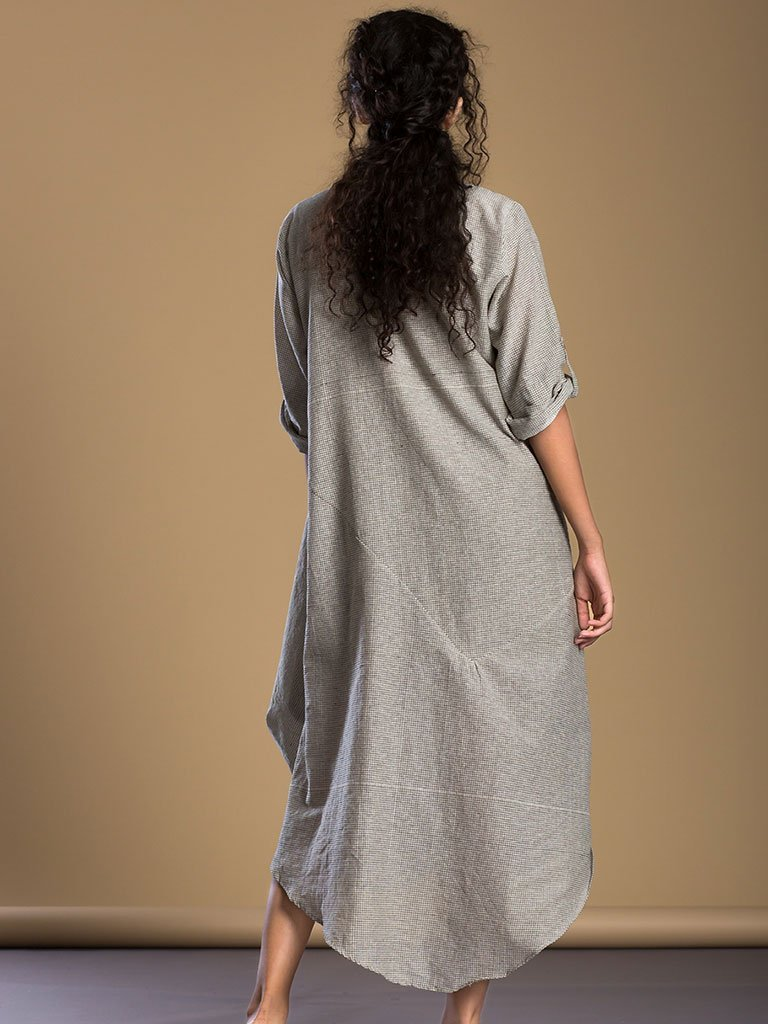 Ivory Checks Buttoned Ooch Neech Aakaar - DRESSES - IKKIVI - Shop Sustainable & Ethical Fashion