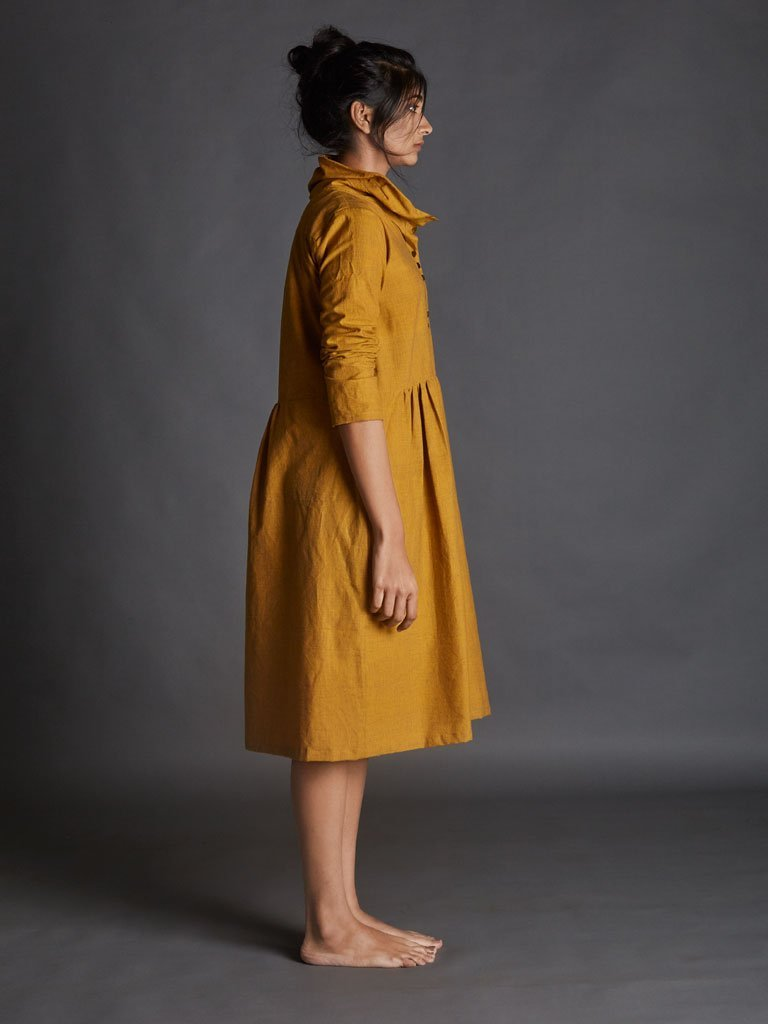 yellow handspun khadi new tagka Aakaar dress image 2
