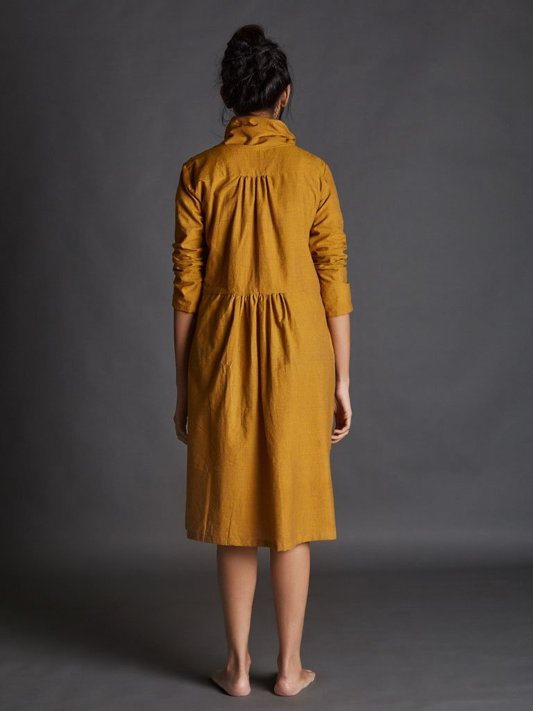 yellow handspun khadi new tagka Aakaar dress image 3