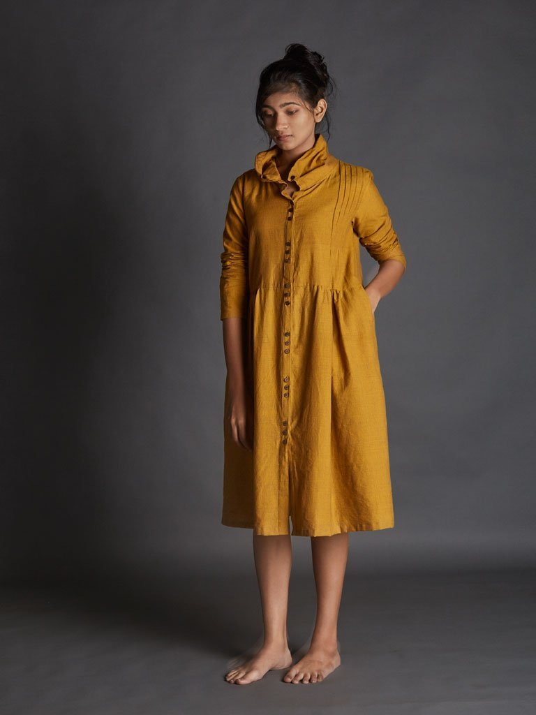 yellow handspun khadi new tagka Aakaar dress image