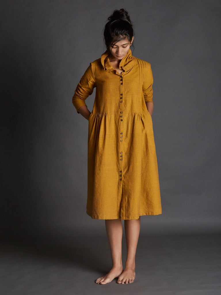 yellow handspun khadi new tagka Aakaar dress image 4
