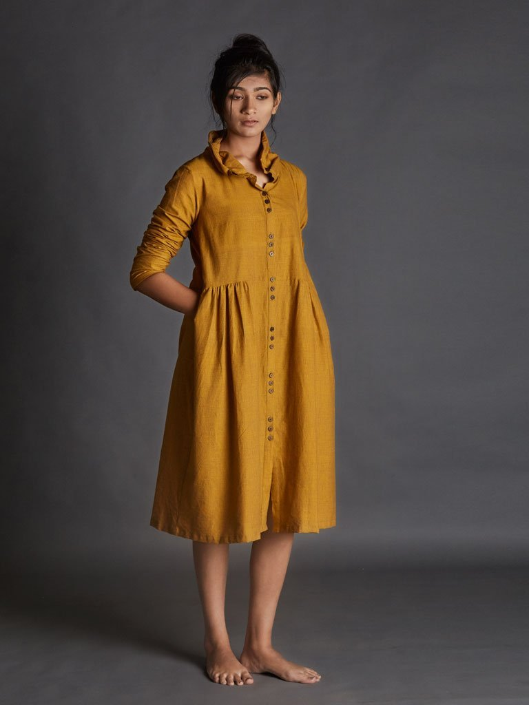 yellow handspun khadi new tagka Aakaar dress image5