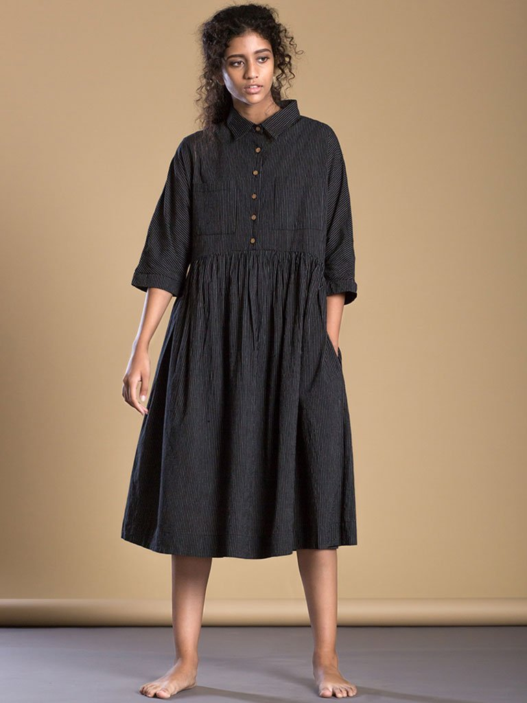 Black Shirt Dress front
