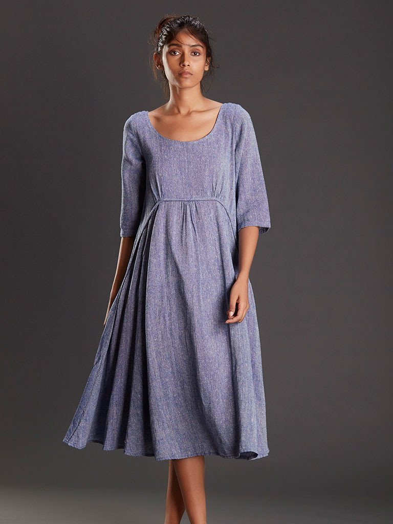 LIGHT BLUE LINEN JUTE MAXI - DRESSES - IKKIVI - Shop Sustainable & Ethical Fashion