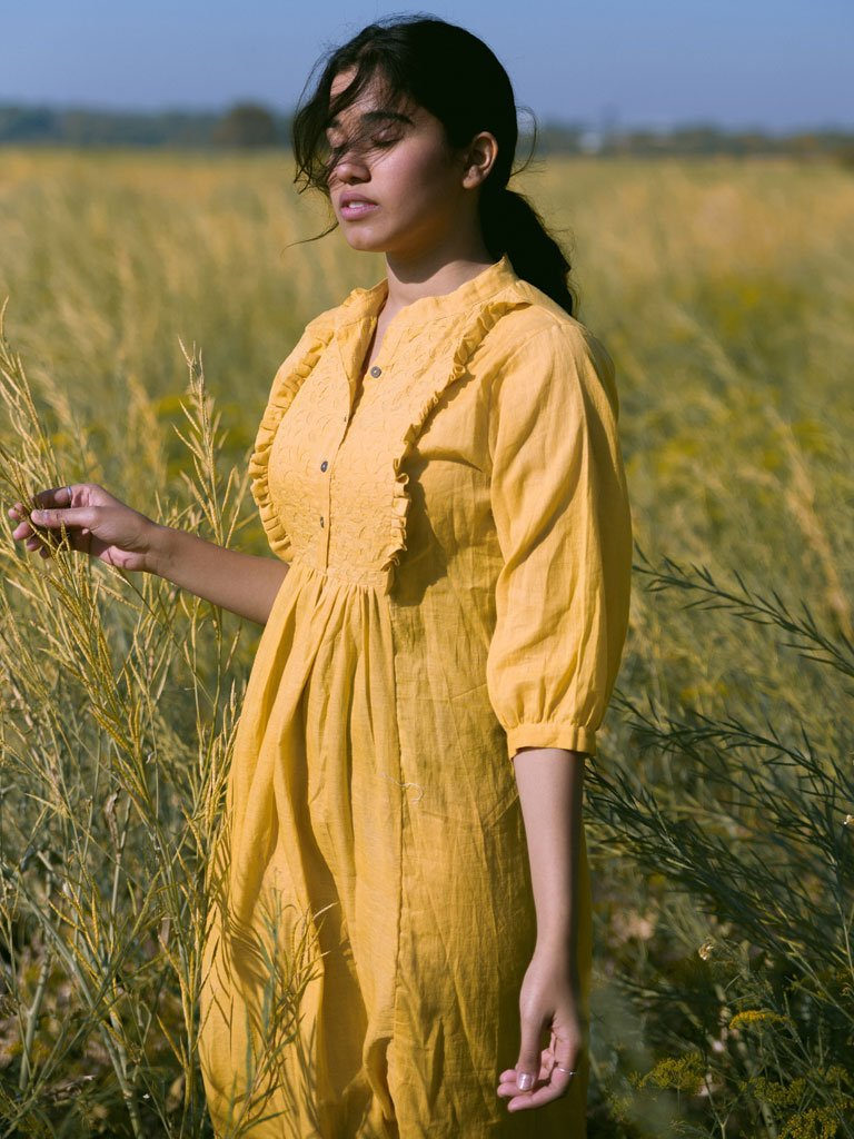 Mustard Frill Yoke Tunic - DRESSES - IKKIVI - Shop Sustainable & Ethical Fashion