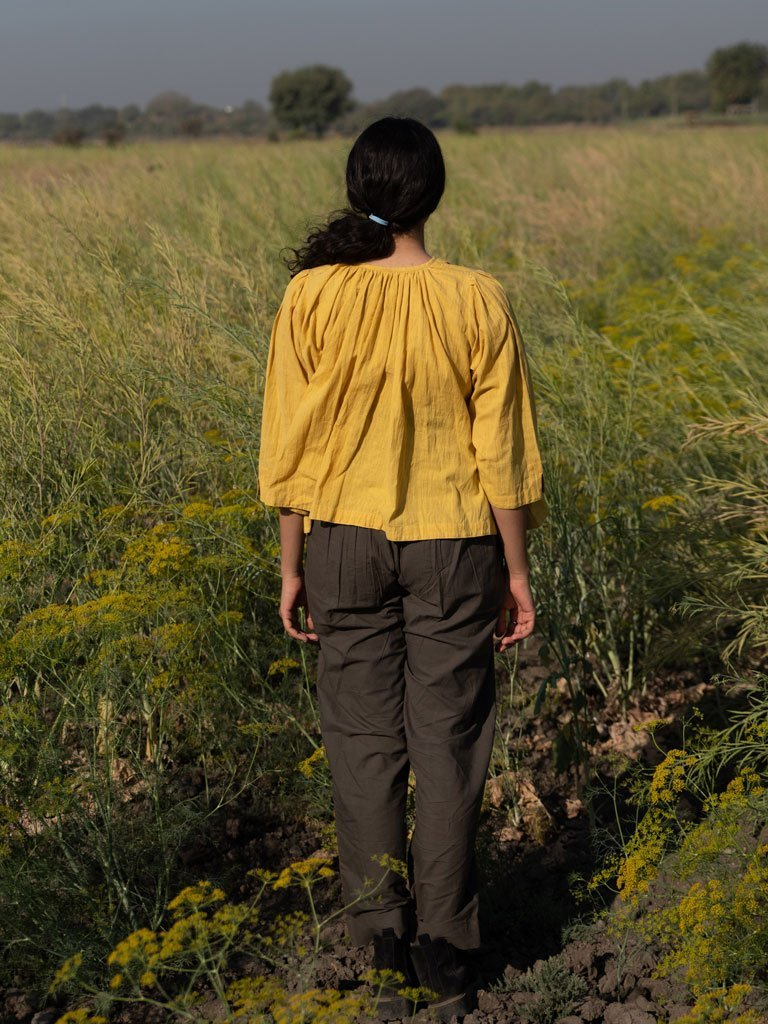 Mustard Gathered Top - TOPS - IKKIVI - Shop Sustainable & Ethical Fashion
