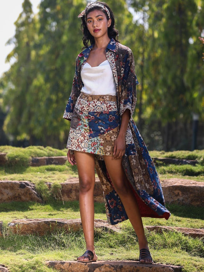 Mixed print kitschy mini skirt - SKIRTS & TROUSERS - IKKIVI - Shop Sustainable & Ethical Fashion