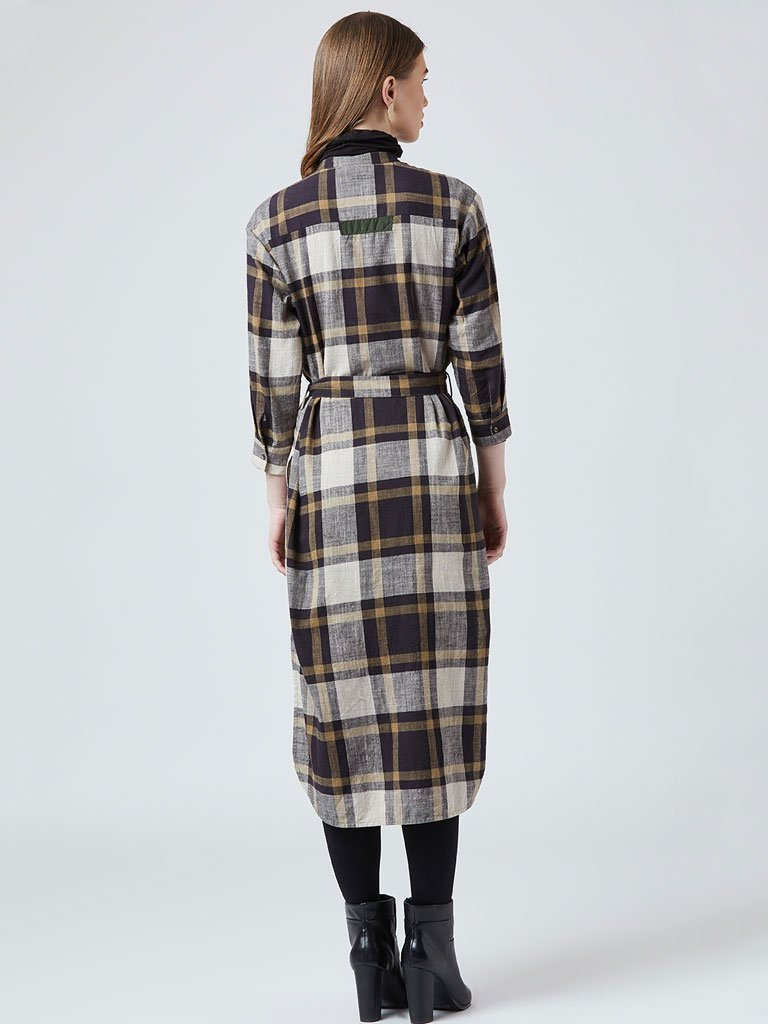 Plaid Long Tunic - TOPS - IKKIVI - Shop Sustainable & Ethical Fashion